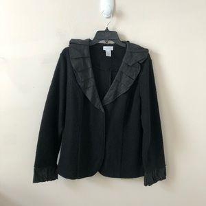 Soft Surroundings Black Cardigan w/Ruffle Trim- XL